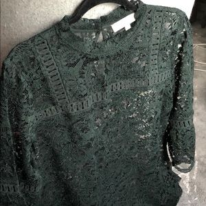 LOFT Forrest Green Lace Top